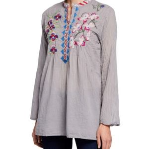 Johnny Was Embroidered Gray Tunic